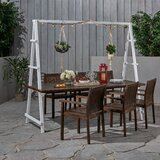 Stelly Outdoor Acacia Wood and Iron Planter 7 Piece Dining Set