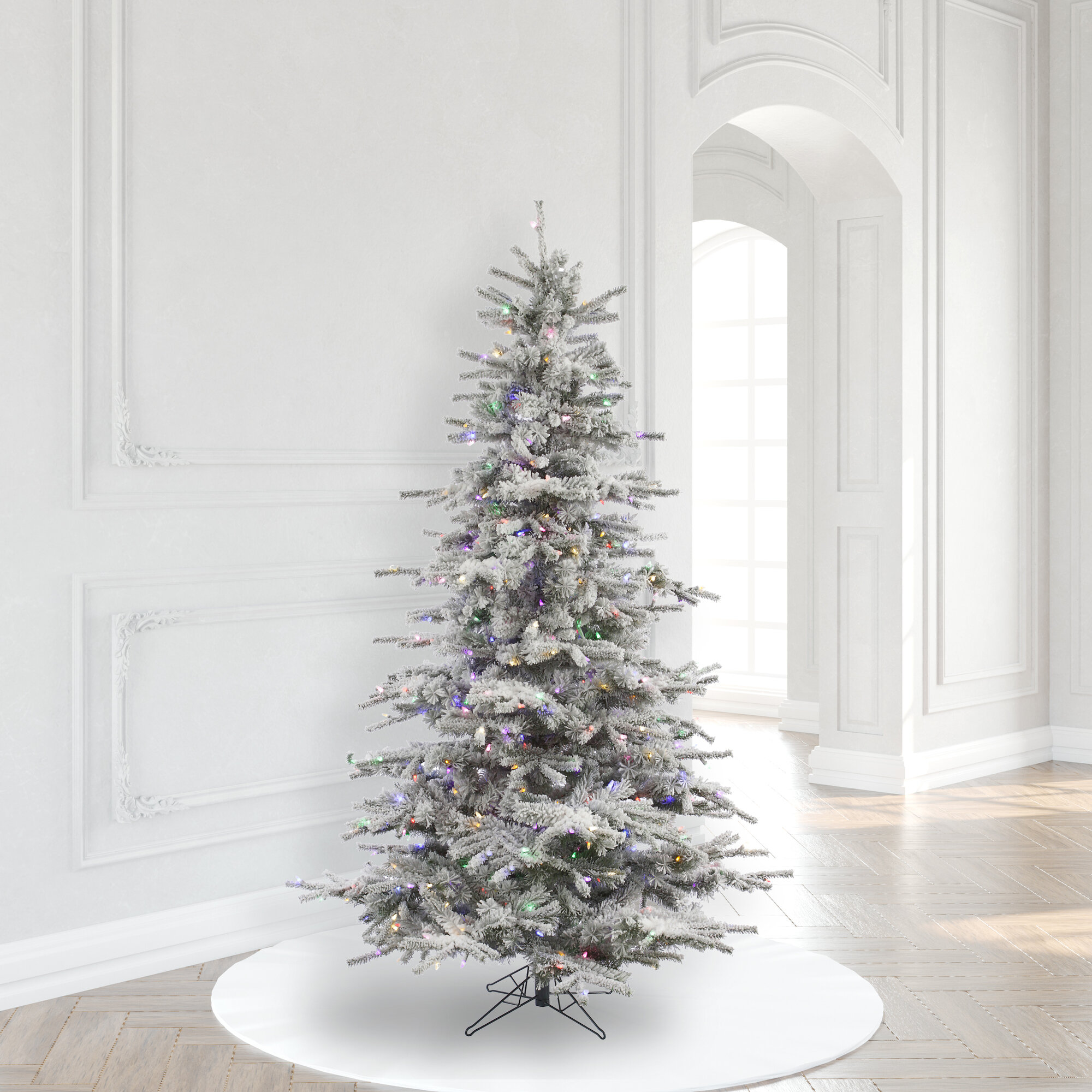 The Holiday Aisle Sierra Flocked 6 5 White Fir Artificial Christmas Tree With 550 Multi Colored Lights Reviews Wayfair