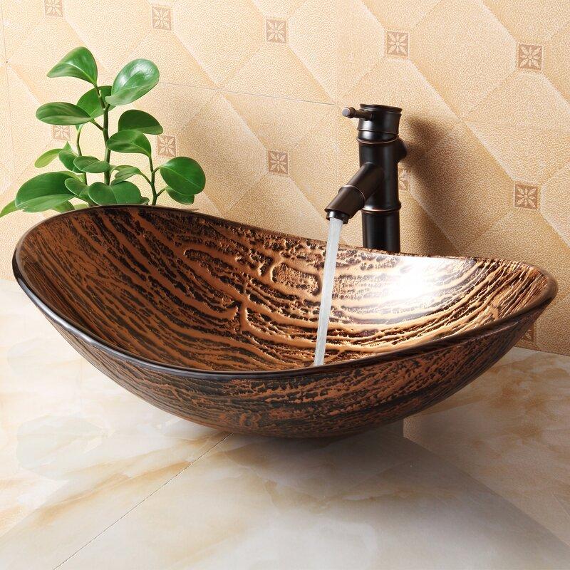 Elite Hot Melted Tree Bark Boat Glass Oval Vessel Bathroom Sink Reviews Wayfair
