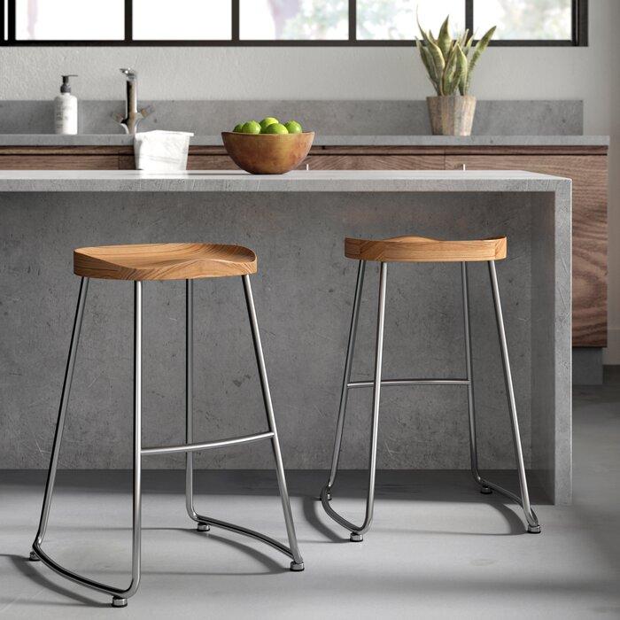 Enjoyable Brookshire Solid Wood Metal Counter Stool Set Creativecarmelina Interior Chair Design Creativecarmelinacom
