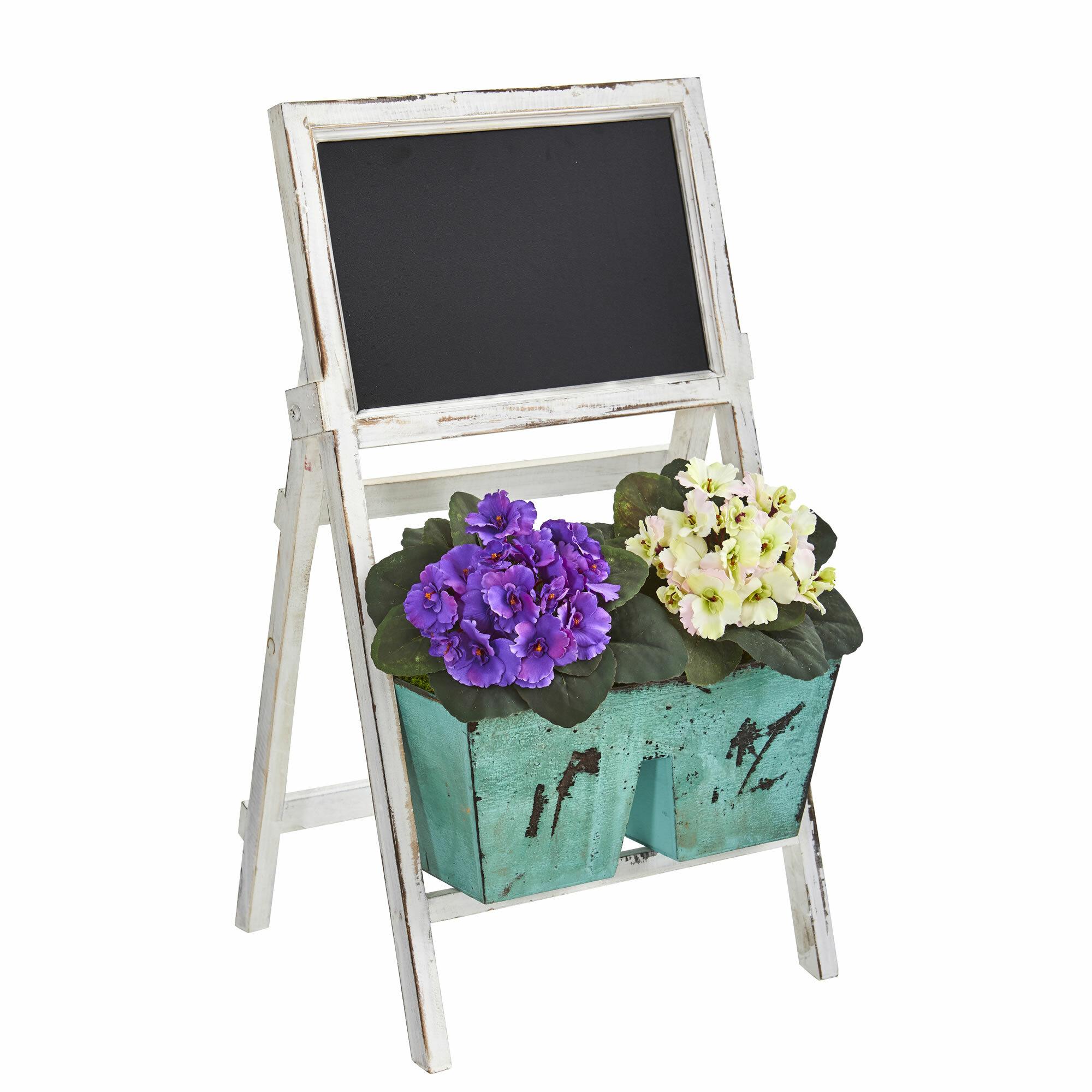 August Grove Artificial African Violet Floral Arrangement In Planter Wayfair