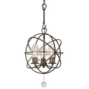 Great Price Charleston 3-Light Outdoor Chandelier By Rosdorf Park