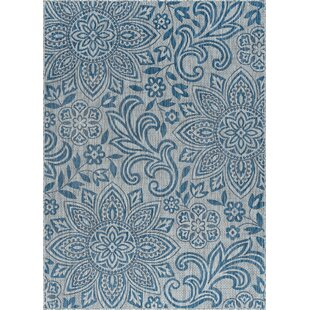 Koby Transitional Floral Cream/Blue Indoor/Outdoor Area Rug