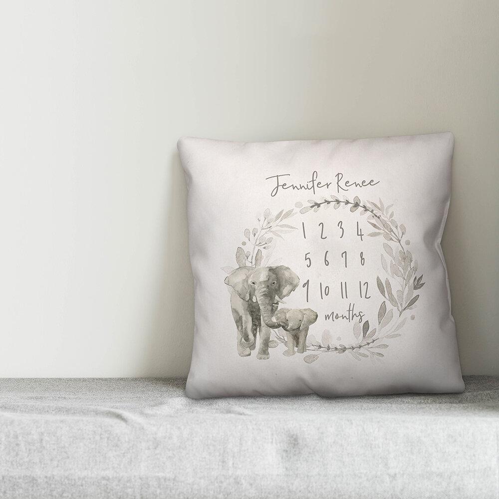 August Grove Borley Watercolor Elephant Wreath Personalized Milestone Throw Pillow Wayfair