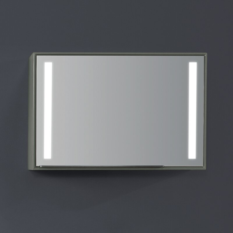 Ronbow Stack Surface Mount Framed 1 Door Medicine Cabinet With 2 Shelves And Led Lighting And Electrical Outlet Perigold
