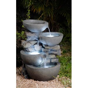 Resin/Fiberglass  Tiered Modern Bowls Fountain with LED Light