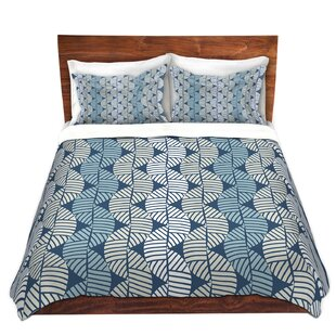 Waves On Blue Duvet Cover Set by DiaNoche Designs