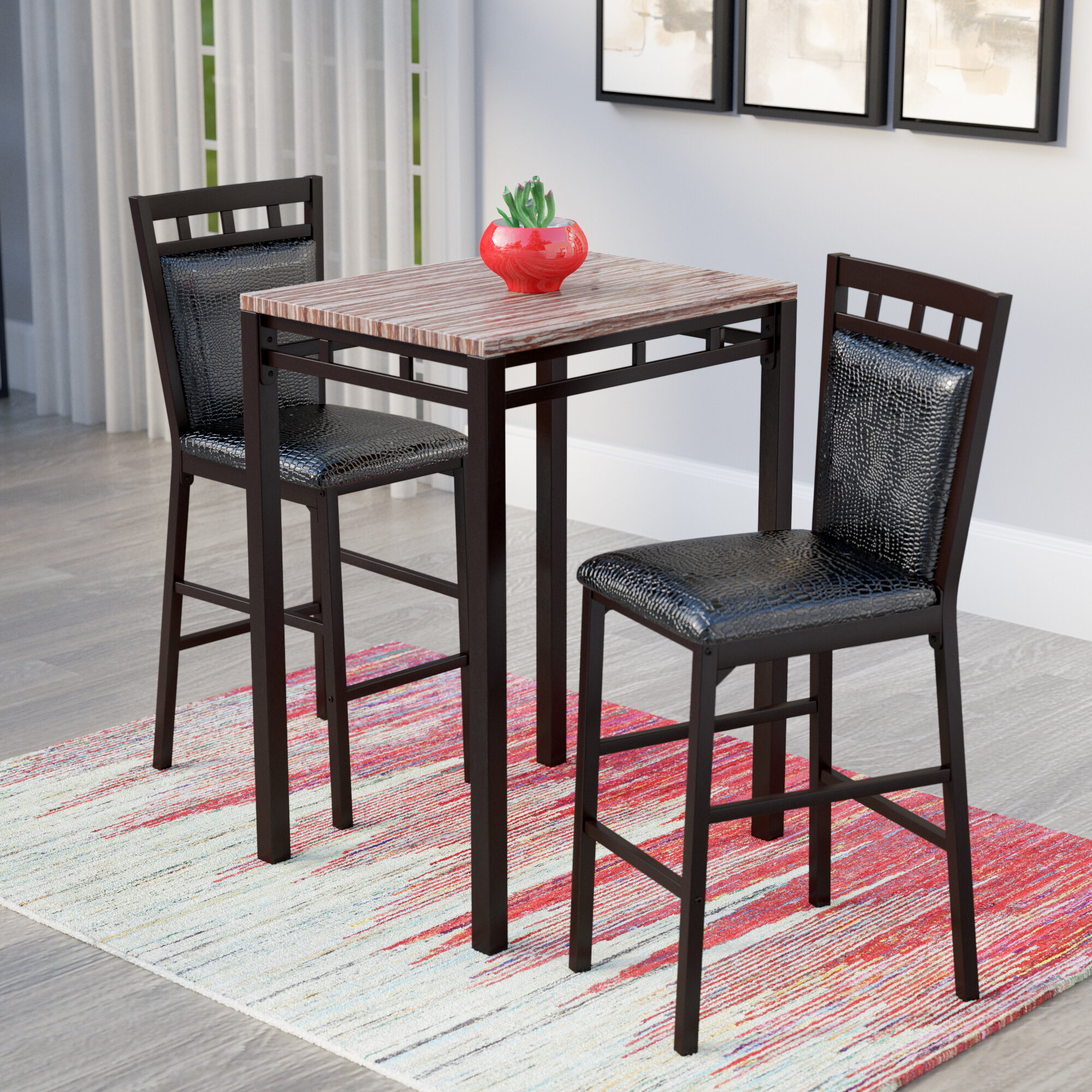 Laude Run Eric 3 Piece Pub Table Set
