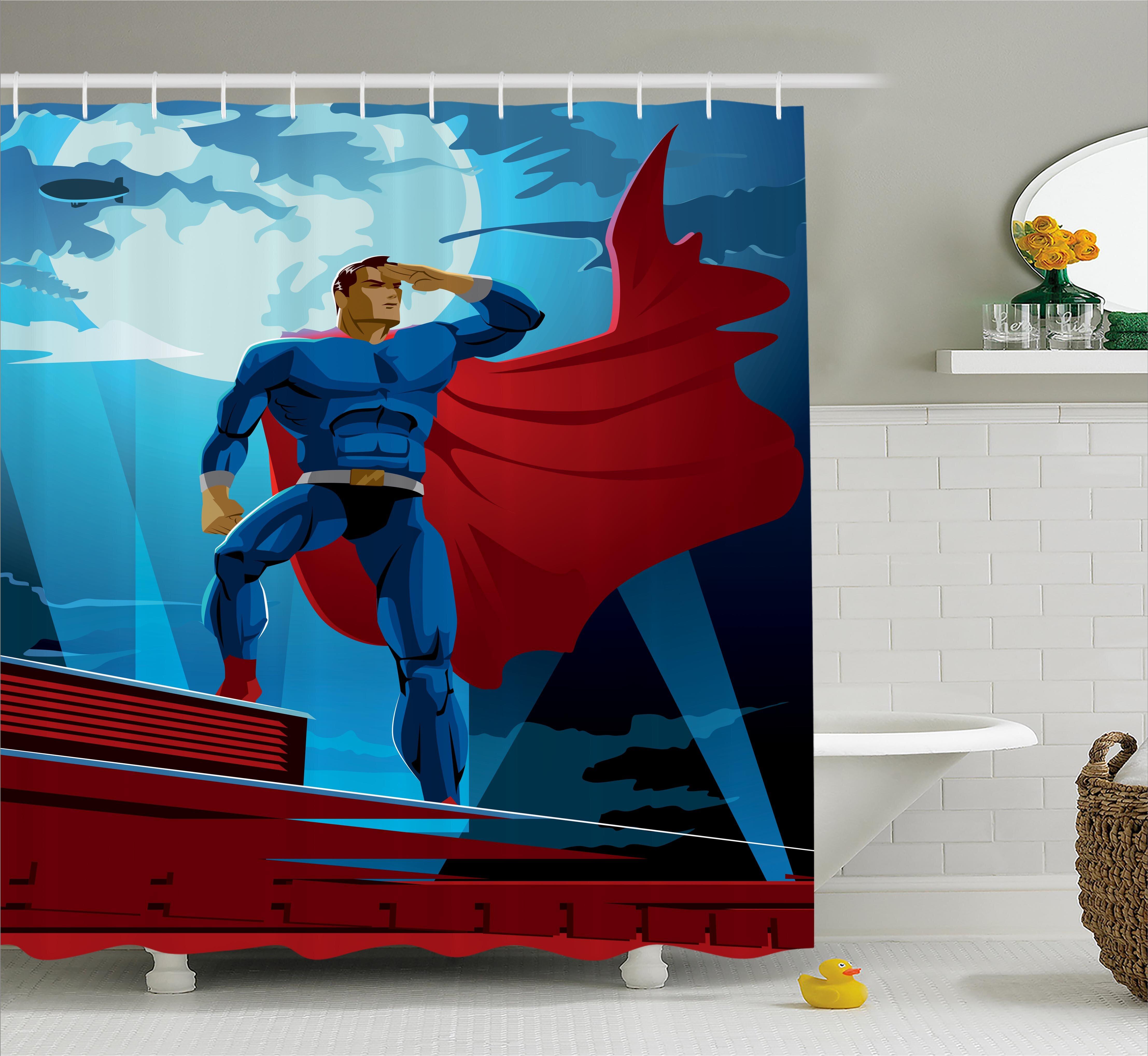 Ambesonne Superhero Retro Cartoon Heros Shower Curtain | Wayfair