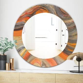 East Urban Home Wave Abstract Drops Iv Modern Frameless Wall Mirror Wayfair
