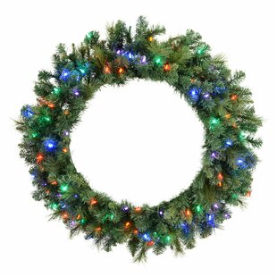 Brussels 76cm Mixed Pine Lighted Christmas Wreath By The Seasonal Aisle
