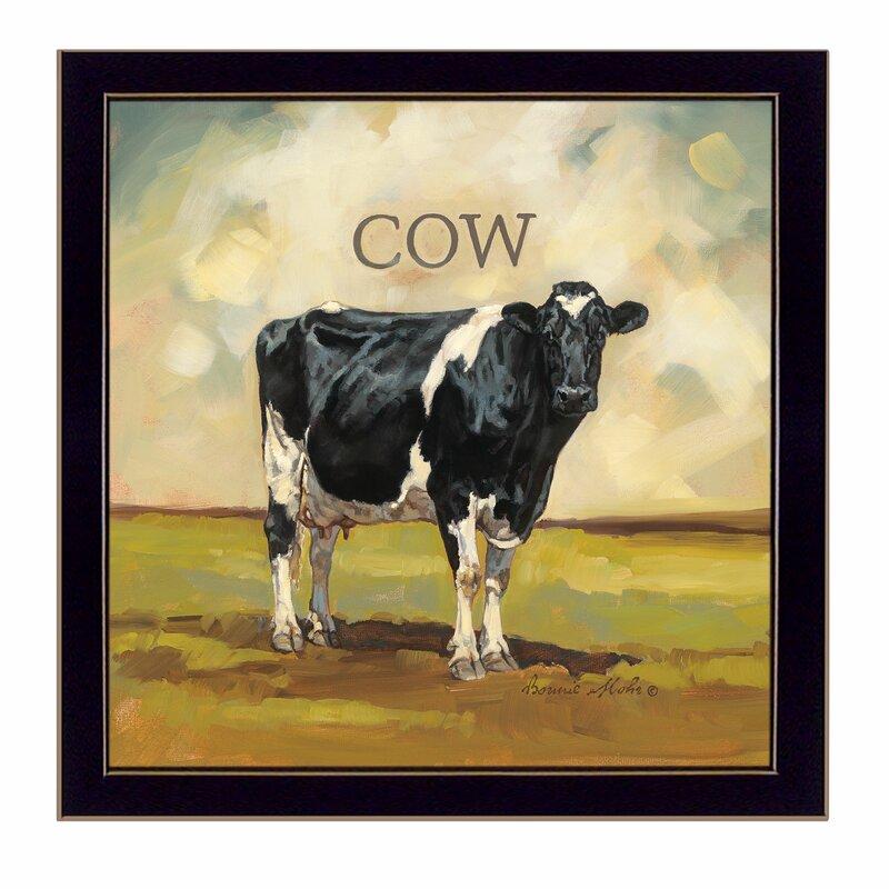 August Grove Colby The Cow Framed Acrylic Painting Print Wayfair