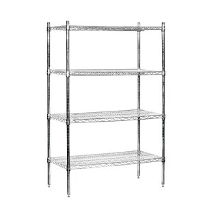 Wire Stationary 4 Shelf Shelving Unit