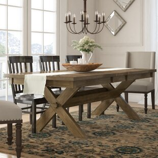 Poe Cross-buck Extendable Dining Table Gracie Oaks