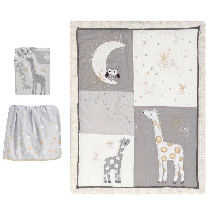 Moonbeams Giraffe Stars 3 Piece Crib Bedding Set