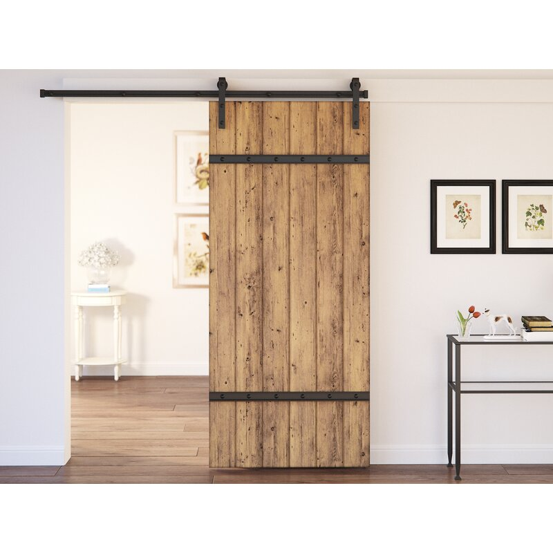 August Grove Youmans Flush Wood Finish Barn Door With Installation Hardware Kit Reviews Wayfair
