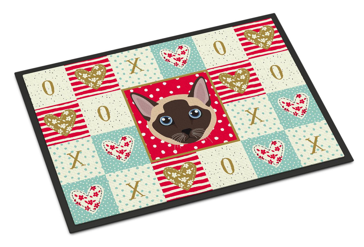 The Holiday Aisle Claypool Tonkinese Cat 36 In X 24 In Non Slip Indoor Outdoor Door Mat Wayfair