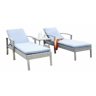 Suai Reclining Chaise Lounge Set with Cushion by Highland Dunes