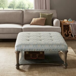 refrenshire square exposed wood cocktail ottoman
