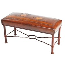 Fernando Calf Roper Leather Entryway Bench by New World Trading