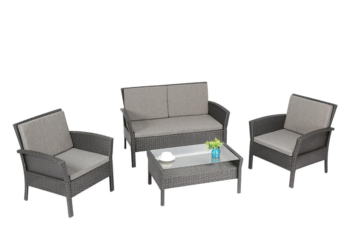 baner garden  piece dining set with cushions  reviews  wayfair - defaultname