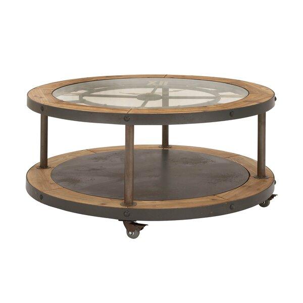 cole & grey metal and wood clock coffee table & reviews   wayfair