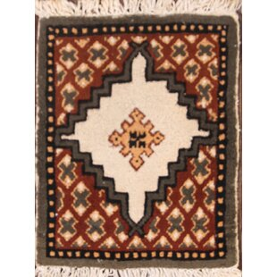 Compare prices Imperial Moroccan Oriental Hand-Knotted Wool Beige/Red/Black Area Rug ByBloomsbury Market