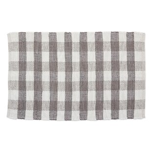 Watauga Buffalo Check Rag Cotton Gray Area Rug