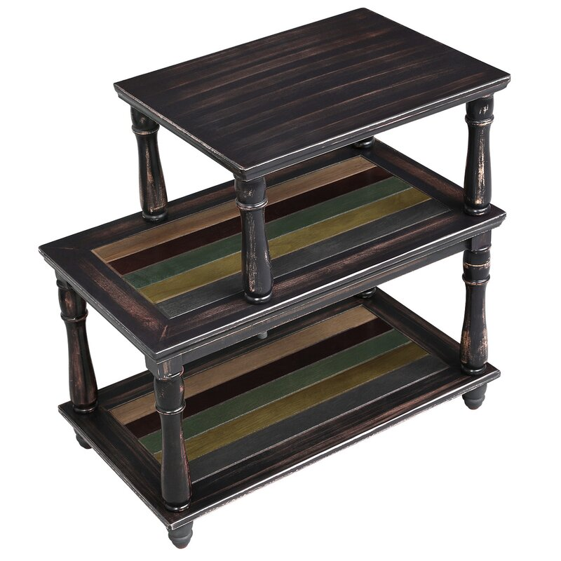 End Table With Colourful Storage Shelf