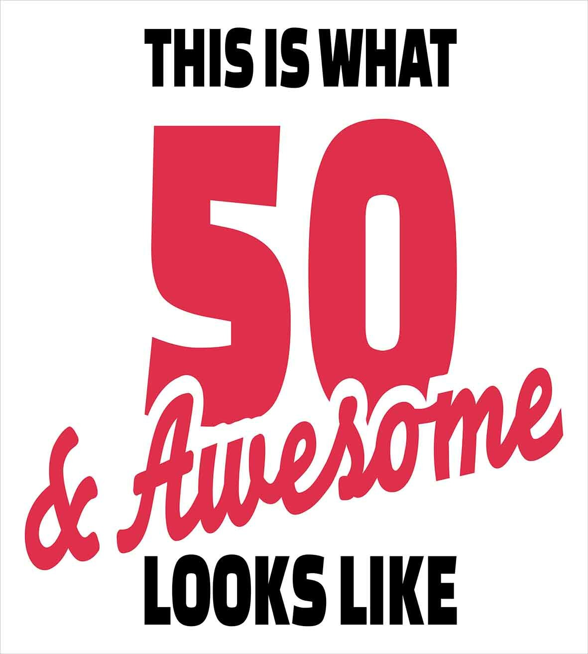 Ambesonne 50th Birthday Decorations Fifty And Awesome Cool Fun Hand Written Happy Slogan Duvet Cover Set