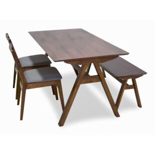 Abagail 4 Piece Solid Wood Dining Set Union Rustic
