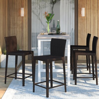 Full Back Rattan Amp Wicker Patio Bar Stools You Ll Love In