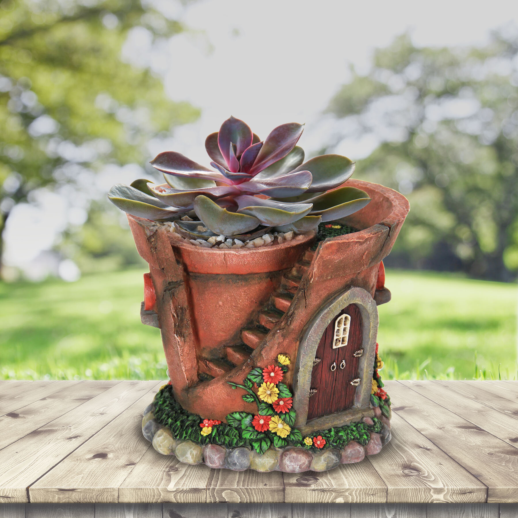 Exhart Solar Fairy House Resin Pot Planter Reviews Wayfair
