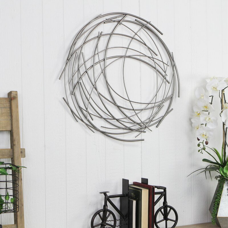 Contemporary Abstract Round Wall Décor by Orren Ellis