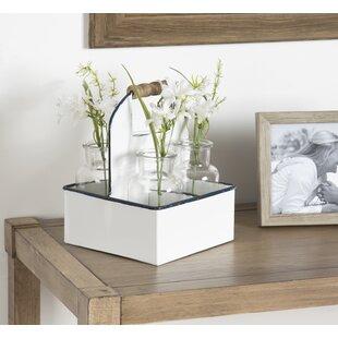 Roisin Farmhouse Metal Caddy 5 Piece Table Vase Set