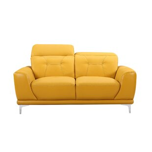 Bellefontaine Leather Loveseat by Ivy Bronx