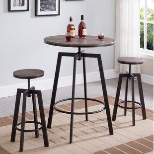 Vella 3 Piece Adjustable Pub Table Set Williston Forge