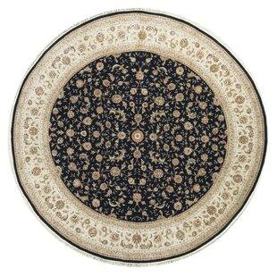One-of-a-Kind Elegance Select Handwoven Round 10' Wool/Silk Beige/Black Area Rug ByBokara Rug Co., Inc.