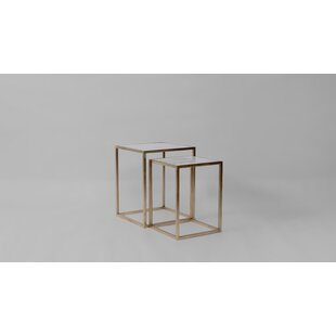 Annora Marble and Brass Square Nesting Tables