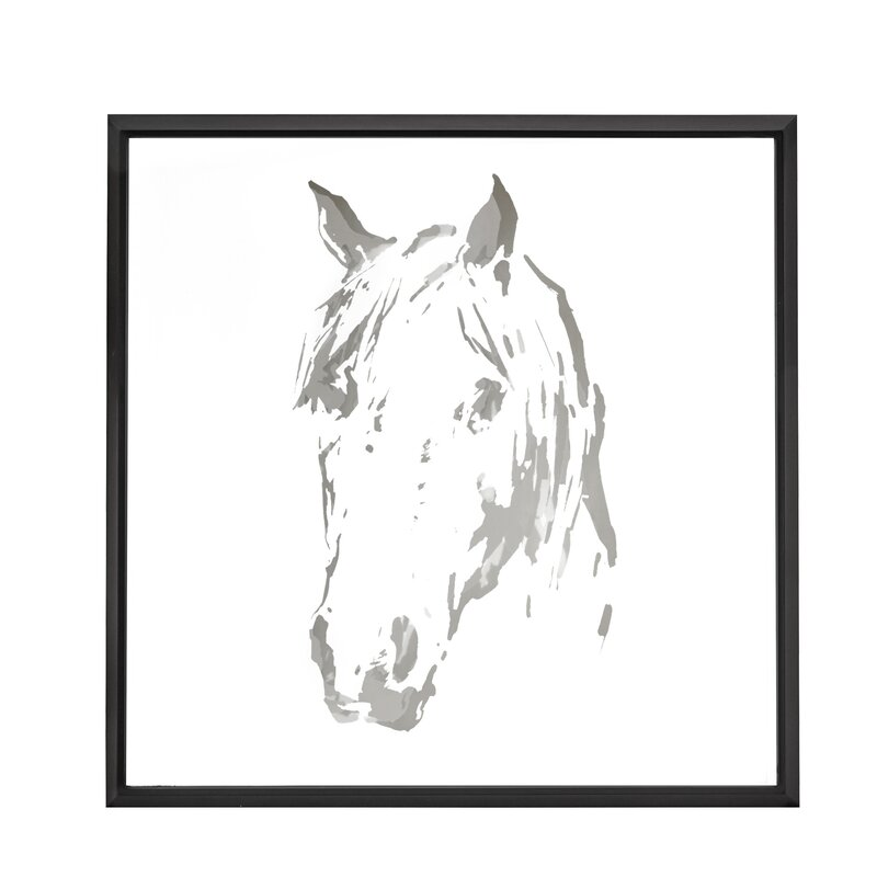 Majestic Mirror Square Abstract Horse Mirror Framed Painting Print ...
