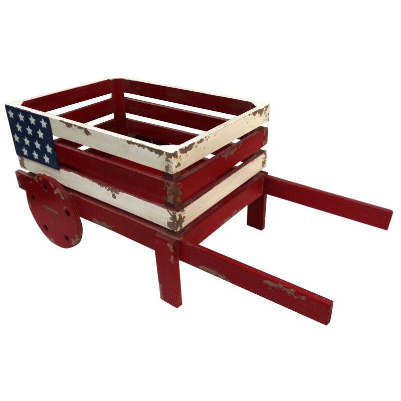 August Grove Sommer American Flag Wooden Wheelbarrow Planter Wayfair - Wheelbarrow coffee table