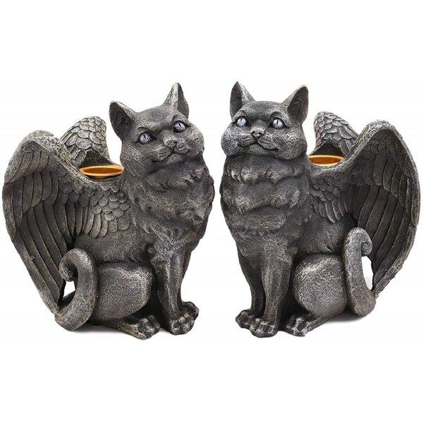 The Holiday Aisle 2 Piece Krupa Gothic Angel Winged Catgoyle Cat Gargoyle Candle Holder Figurine Set Wayfair