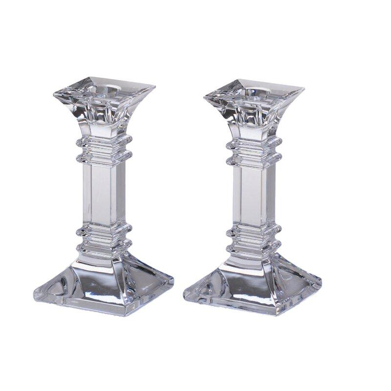 Treviso 2 Piece Crystal Tabletop Candlestick Set (Set of 2)