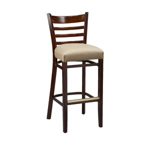 Amoroso Beechwood Ladder Back Fully Upholstered Seat Bar Stool Red Barrel Studio