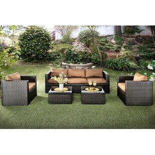Alden 5 Piece Rattan Sofa Set with Cushions by Hokku Designs