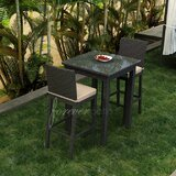 Barbados 3 Piece Bar Height Dining Set with Sunbrella Cushions