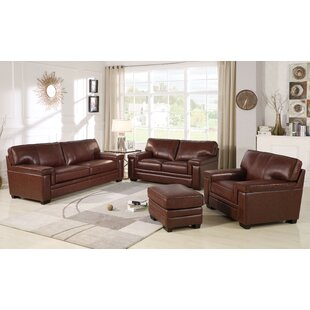 Cabott 4 Piece Leather Living Room Set by Three Posts