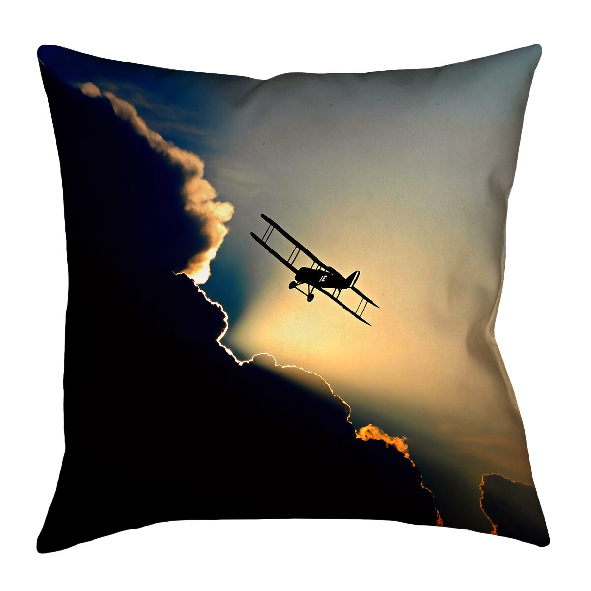 East Urban Home Plane In The Clouds Square Linen Throw Pillow Wayfair