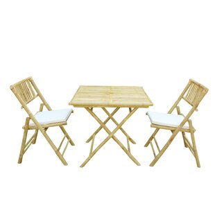 Bay Isle Home Corning Bamboo Outdoor 3 Piece Bistro Set with Cushions