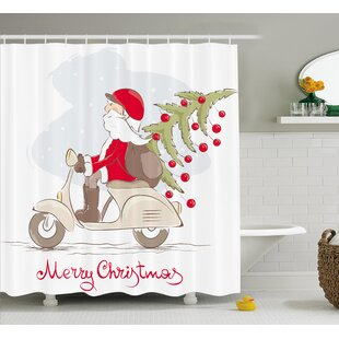 Best Reviews Christmas Santa on Motor Bike Shower Curtain ByThe Holiday Aisle